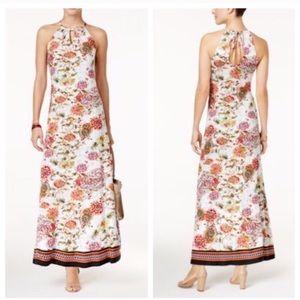 ECI Floral Printed-Keyhole Halter Maxi Dress large
